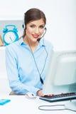 Портрет работника обслуживания клиента женщины, усмехаться центра телефонного обслуживания Стоковая Фотография