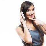 Портрет работника обслуживания клиента женщины, центра телефонного обслуживания усмехаясь o Стоковые Изображения