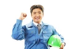 Портрет работника с трудной шляпой стоковое изображение rf