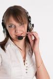 портрет работника центра телефонного обслуживания Стоковое фото RF
