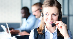 Портрет работника центра телефонного обслуживания Стоковые Фото