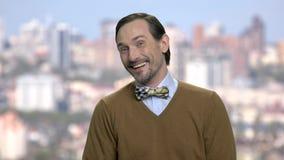Портрет радостного зрелого человека сток-видео