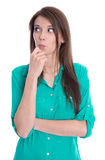 Портрет рассмотрения молодого студента изолированный на белом backgrou стоковое изображение rf