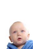 портрет ребенка bathrobe голубой Стоковые Фото