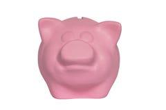 Портрет розовой копилки на белой предпосылке Стоковая Фотография RF