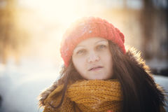 Портрет романтичной девушки на заходе солнца, восходе солнца, золоте в час на морозный зимний день Стоковое Фото