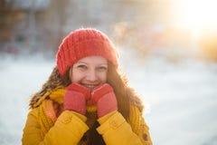 Портрет романтичной девушки на заходе солнца, восходе солнца, золоте в час на морозный зимний день Стоковое Изображение RF
