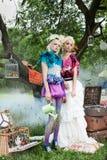 Портрет романтичных женщин в fairy пуще Стоковые Фотографии RF