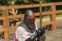 Портрет рыцаря во время поединка стоковая фотография rf