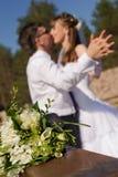 Портрет свадьбы в парке Стоковое Изображение