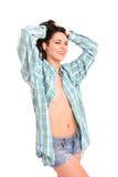 Портрет сексуальной девушки в рубашке человека Стоковое Фото