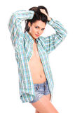 Портрет сексуальной девушки в рубашке человека Стоковая Фотография