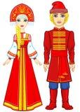 Портрет семьи в старых русских одеждах иллюстрация вектора