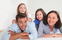 Портрет семьи дома Стоковое Изображение