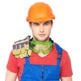 Портрет серьезного работника в форме Стоковое фото RF