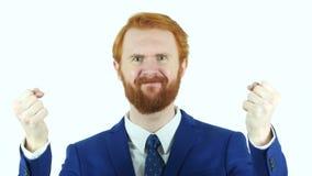 Портрет сердитого красного бизнесмена бороды волос сток-видео