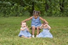Портрет 3 сестер в парке стоковая фотография
