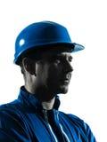 Портрет силуэта sideview профиля рабочий-строителя человека Стоковое Изображение