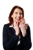 Портрет смеясь над коммерсантки стоковая фотография rf