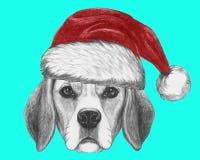 Портрет собаки бигля с шляпой Санты бесплатная иллюстрация
