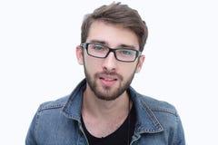 Портрет современного молодого человека в зрелищах Стоковые Изображения