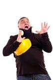 Портрет сотрястенного человека кричащего Стоковые Фото