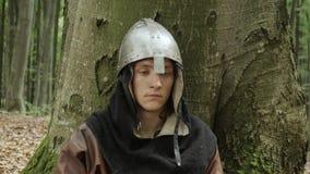 Портрет средневекового мужского ратника Викинга сток-видео