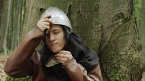 Портрет средневекового мужского ратника Викинга видеоматериал