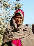 Портрет старой женщины rajasthani на верблюде справедливом, Индии Pushkar, Rajastan Стоковая Фотография RF
