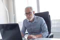 Портрет старшего бизнесмена работая на компьтер-книжке Стоковые Фото