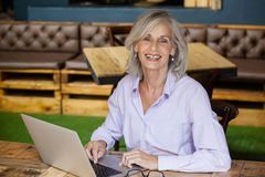 Портрет старшей женщины используя портативный компьютер Стоковое Фото