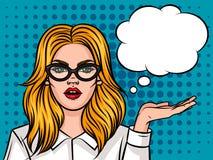 Портрет стекел бизнес-леди нося с рукой вверх Бесплатная Иллюстрация