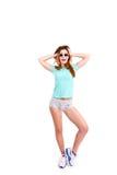 Портрет стильной удивленной девушки Стоковые Изображения RF