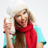 Портрет стиля рождества молодой женщины Стоковые Изображения