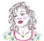 Портрет стороны женщины иллюстрации красивый на белой предпосылке Стоковая Фотография