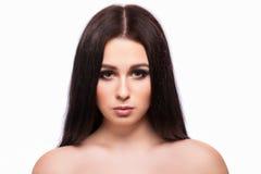 Портрет стороны женщины красоты с чистой свежей кожей, длинными волосами и Стоковое Фото