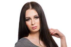 Портрет стороны женщины красоты с чистой свежей кожей и длинными волосами Стоковое фото RF