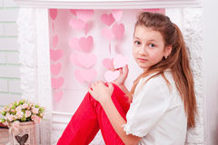 Портрет студии красивой девушки с большими глазами Стоковые Фотографии RF
