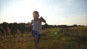 Портрет счастливого мальчика бежать на поле за камерой Усмехаясь мужской ребенк имея потеху в природе на луге лета сток-видео