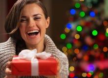 Портрет счастливой женщины с коробкой подарка на рождество Стоковая Фотография RF