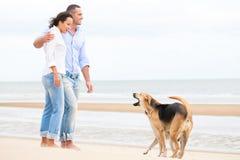 Портрет счастливой пары с собаками Стоковое Изображение