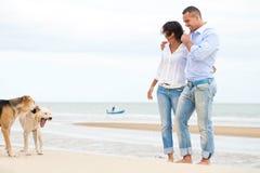 Портрет счастливой пары с собаками Стоковые Изображения