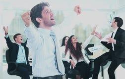 Портрет счастливой успешной бизнес-группы Стоковая Фотография RF