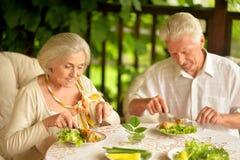 Портрет счастливых старших пар имея обедающий стоковые фотографии rf