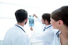 Портрет счастливых хирургов проводя отчет о рентгеновского снимка Стоковые Фотографии RF