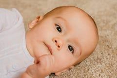 Портрет счастливого и спокойного младенца стоковое изображение