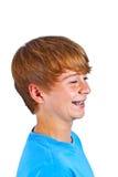 Портрет счастливого мальчика с синью Стоковая Фотография RF