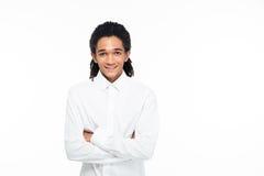 Портрет счастливого молодого афро американского бизнесмена Стоковое фото RF