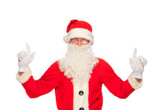 Портрет счастливого Санта Клауса с огромным мешком Стоковое Фото