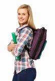 Портрет счастливого студента колледжа против белой предпосылки стоковое изображение rf